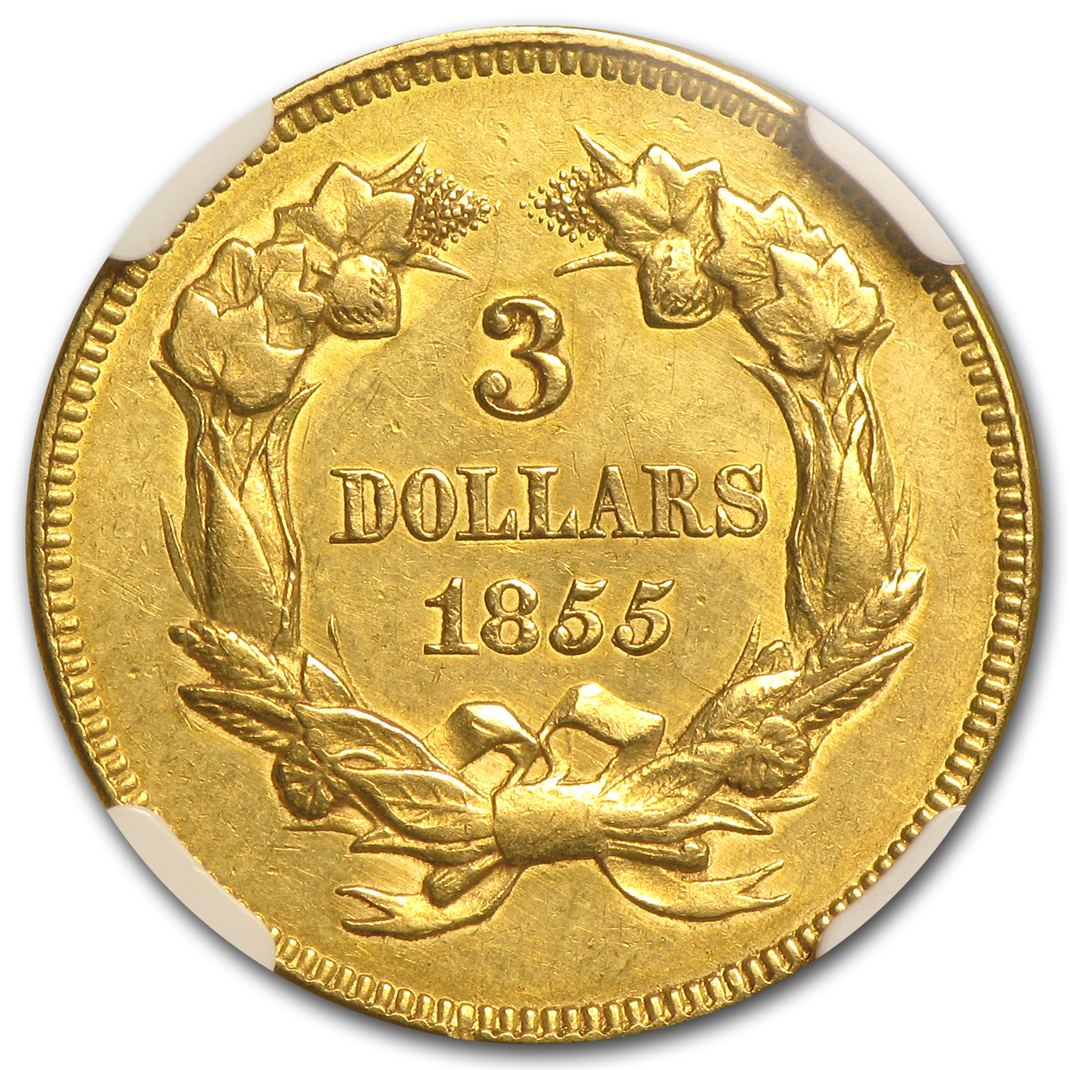 1855 $3 Gold Princess - UNC Details NGC - (Cleaned)